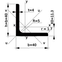 уголок стальной равнополочный 40х40х4
